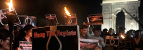 Indian protesters demand capital punishment for rapists in a candlelight vigil in New Delhi