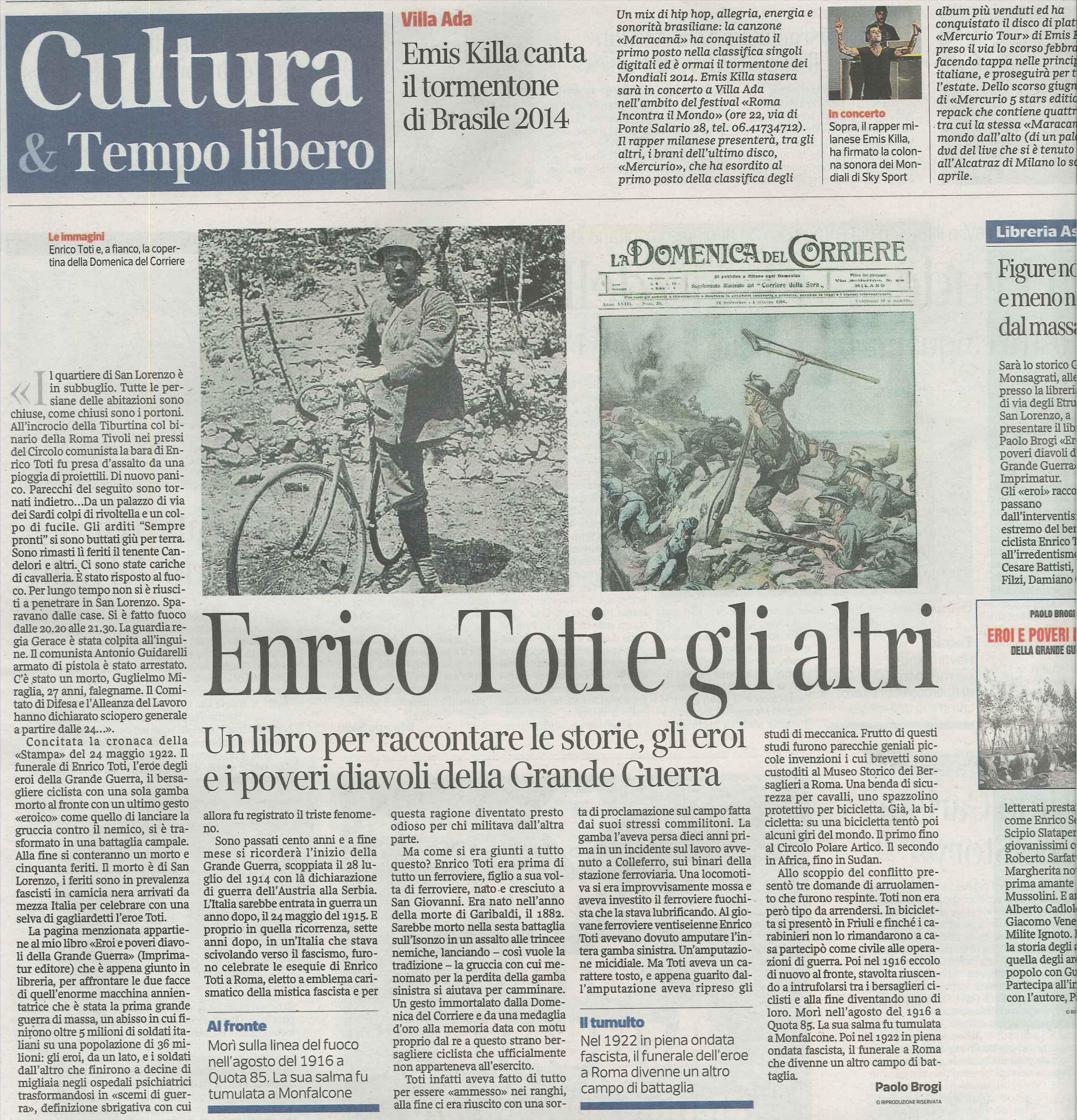 Corriere della sera 10 luglio 2014 pagina di apertura della sezione cultura delle pagine romane